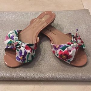 Ferragamo flower heel flats